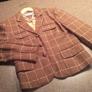 Women's Hilfiger wool brown blazer, size Large